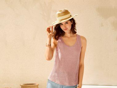 911e52cffa 9. online · Camiseta de lino de tirantes mujer